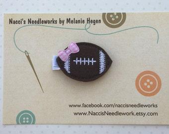 Felt Hair Clip- Football Hair Clip- Football with Pink Bow Hair Clip- Felt Hair Accessories