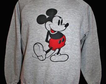 Vintage Mickey Mouse Sweatshirt XL heather gray cotton blend shirt 1980's Disney