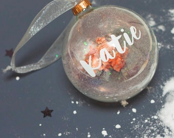 Personalised Name Bauble | Handmade Glass Bauble | Christmas Gift | Glitter Bauble | Custom Gift