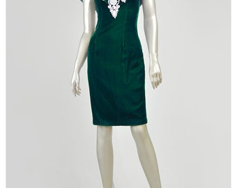 Vintage Green Velvet Dress 80s Party Dress Lace Trim Dress Dark Green Dress Mini Gown Cocktail Dress Off Shoulder Dress 80s Prom Dress (XS)