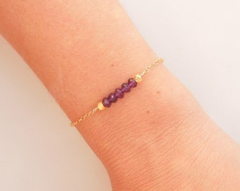 Amethyst Bracelet in Gold - February Birthstone - Birthstone Jewelry