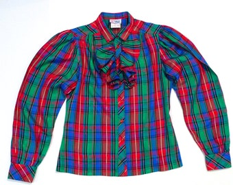 Plaid Taffeta Ruffled Blouse Vintage Vibrant Jewel Tone Christmas Party top 1970s College Town Iridescent Red Green Blue Puffy Sleeve Shirt