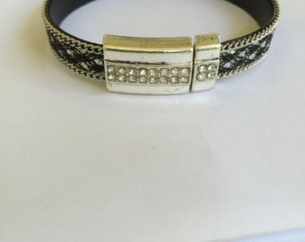 Crystal Silver and Leather Bracelet