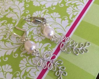 Silver Bridal Leaf and Pearl Earrings