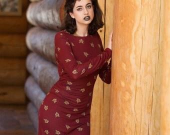 SALE fox print long stretchy dress