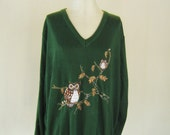 1970s Embroidered Owl Sweater Top Green XL