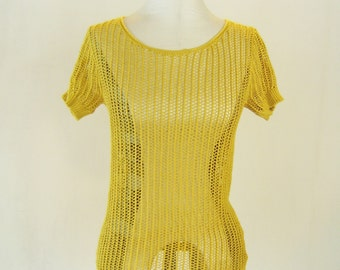Golden Mustard Sheer Knit Shirt Top Netted