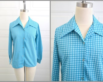 1970s Turquoise Button Front Shirt
