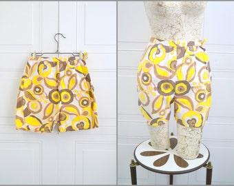 1960s Jamaica Printed Cotton Denim Shorts