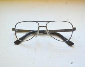 1970s NOS Delta Aviator Gunmetal Eyeglasses Frames