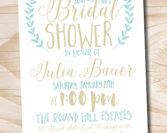 Typography Gold Bridal Shower Couples Shower Baby Shower Invitation - Printable digital file or printed invitations