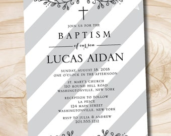 Stripe Boy Baptism Christening Communion Confirmation invitation - Printable digital file or printed invitations