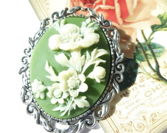 Mothers Day Gift Antique Silver Ivory on Olive Green Sunflowers Cameo Brooch Pendant Necklace