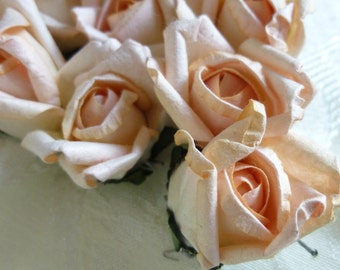 12 Small Light Peach Parchment Paper Roses Wedding Floral Decorations