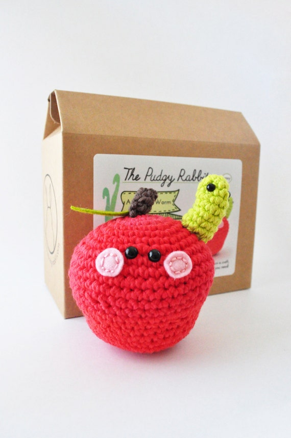 Crochet Apple Kit Amigurumi Kit DIY Crochet Kit Learn to