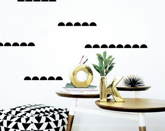 Half Circle Wall Decal Baby Stickers Kids Wall Stickers Baby Nursery Decor Black Scallop Wall Decal Banner. Semi Circle Children Wall Decal