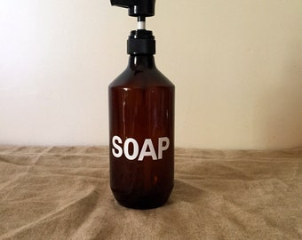 Extra large size upcycled amber pump dispenser bottle for the bathroom or kitchen. Great typographics