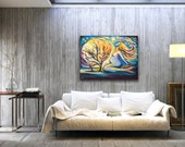 Mermaid art, mermaid painting, oil painting, oil on canvas, impasto art, gift for pregnant woman, woman painting, nude abstract, woman tree