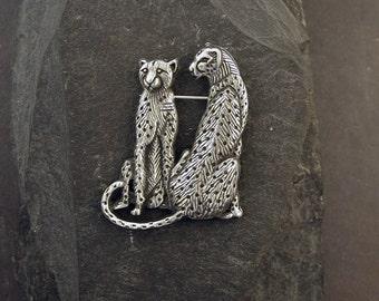 Sterling Silver Cheetah Brooch