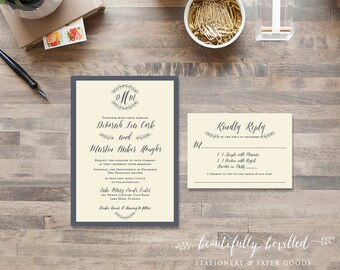 Slate Gray and Ivory Wedding Invitations - Simple, sweet, boho chic