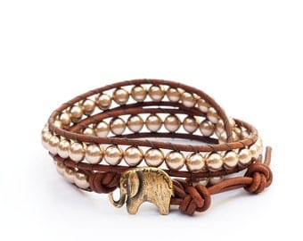Lucky Elephant Button Leather Wrap Bracelet- Swarovski Crystal Pearls - the Lucky Elephant Exclusive