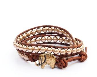Lucky Elephant Button Leather Wrap Bracelet- Swarovski Crystal Pearls - the Lucky Elephant Exclusive