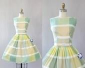 Vintage 50s Dress/ 1950s Cotton Dress/ Julie Miller Deadstock Pastel Green and Yellow Plaid Cotton Dress w/ Bow Belt S