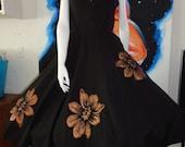 1950's MARC-EL  Miami  Halter Dress Full Skirt Handpainted Metallic Copper Flower Appliques Rhinestones  28 Waist Rockabilly VlV