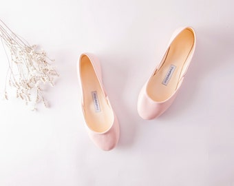 The Classic Ballet Flats in Blush | Soft Pale Pastel Pink Slip Ons | Minimal Flat Shoes | Ready to Ship