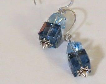Earrings - Earrings With Swarovski Aurora Borealis Crystals - Sterling Silver Findings