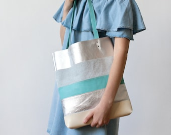 Xmas in July SALE Silver & Turquoise Striped tote Leather Tote bag