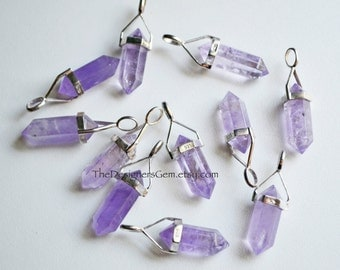 Light Amethyst Point Bead Pendant with Sterling Silver Bail