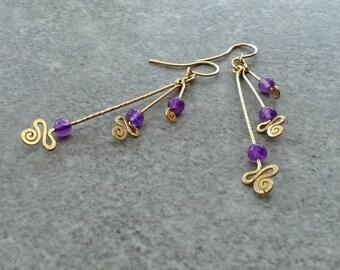 14k gold filled dangle earrings, amethyst earring, yellow gold earrings, long drop earrings, young fun earrings, gold spirals, 3 purple gem