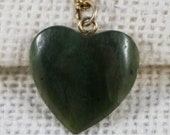 Spinach Green Jade Jadite Stone Carved Heart Pendant with 12K Gold Filled Chain Necklace