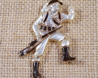 Vintage Early Molded Plastic Lucite and Painted Soldier Service Army Man Brooch WWII