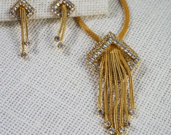 Gold Tone Mesh and Crystal Rhinestone Dangle Necklace and Earrings Parure Set