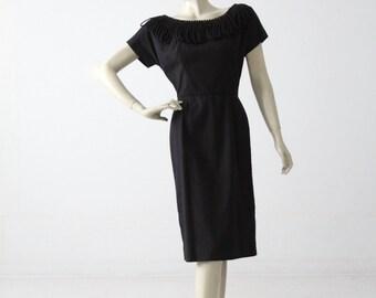 1960s black dress with avant garden neckline, vintage cocktail dress