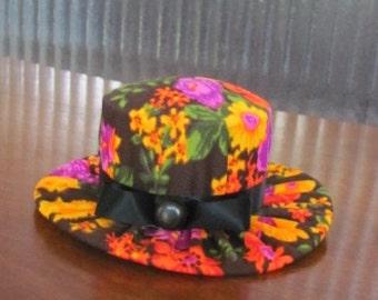 Vintage Handmade Retro Floral Hat Pin Cushion - Sewing - Needlework - Crafting - Pincushion - Seamstress