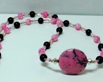 Pink and Black Turquoise Necklace