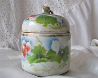 Antique Ginger Jar Japanese Tea Jar Asian Japanese Blossom Handle Red Wax Seal 1930s