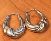 """STERLING Silver Hollow Hoop Earrings  1"""" Long 4.5 Grams"""