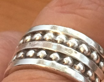 MEXICO Mans STERLING SILVER Dots Band Heavy 11 Grams Ring Size 9