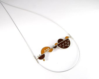 Sterling Silver Pendant - Geometric Design -  Orange and Chocolate - OOAK
