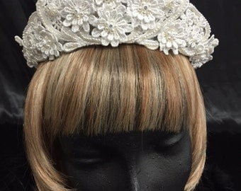 Vintage sewn flower bridal headpiece with pearls