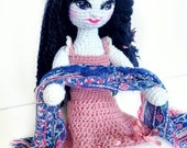 Rose The Lovely Plush Doll / Beautiful Black Haired Anime Manga  Plush Amigurumi Girl / Handmade Posable Toy / Doll W Dress, Scarf And Shoes