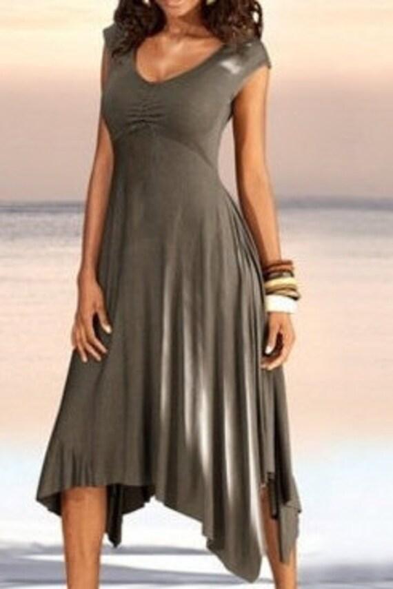 A beautiful summer dress with a wide long skirt