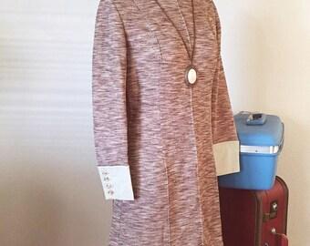 60s Mod Dress/ Vintage 1960s 1970s Mini Dress/ Mocha Brown Weave Dress, Dolly Stewardess Dress/ Size Medium M