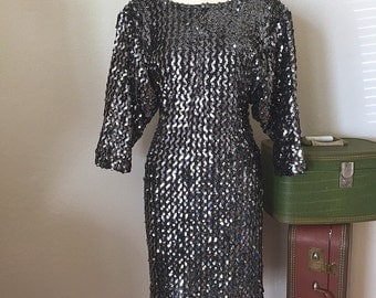 80's Silver Sequin Dress, 1980s Mini Vintage Dress, Body Con Batwing Party Dress, Small -Medium