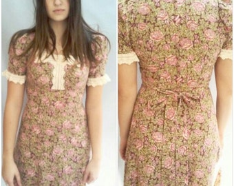 PRAIRIE Floral 60s pink brown LACE collar Empire Waist