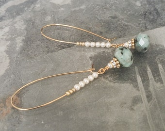 Gold Kiwi Jasper Hoop Earrings